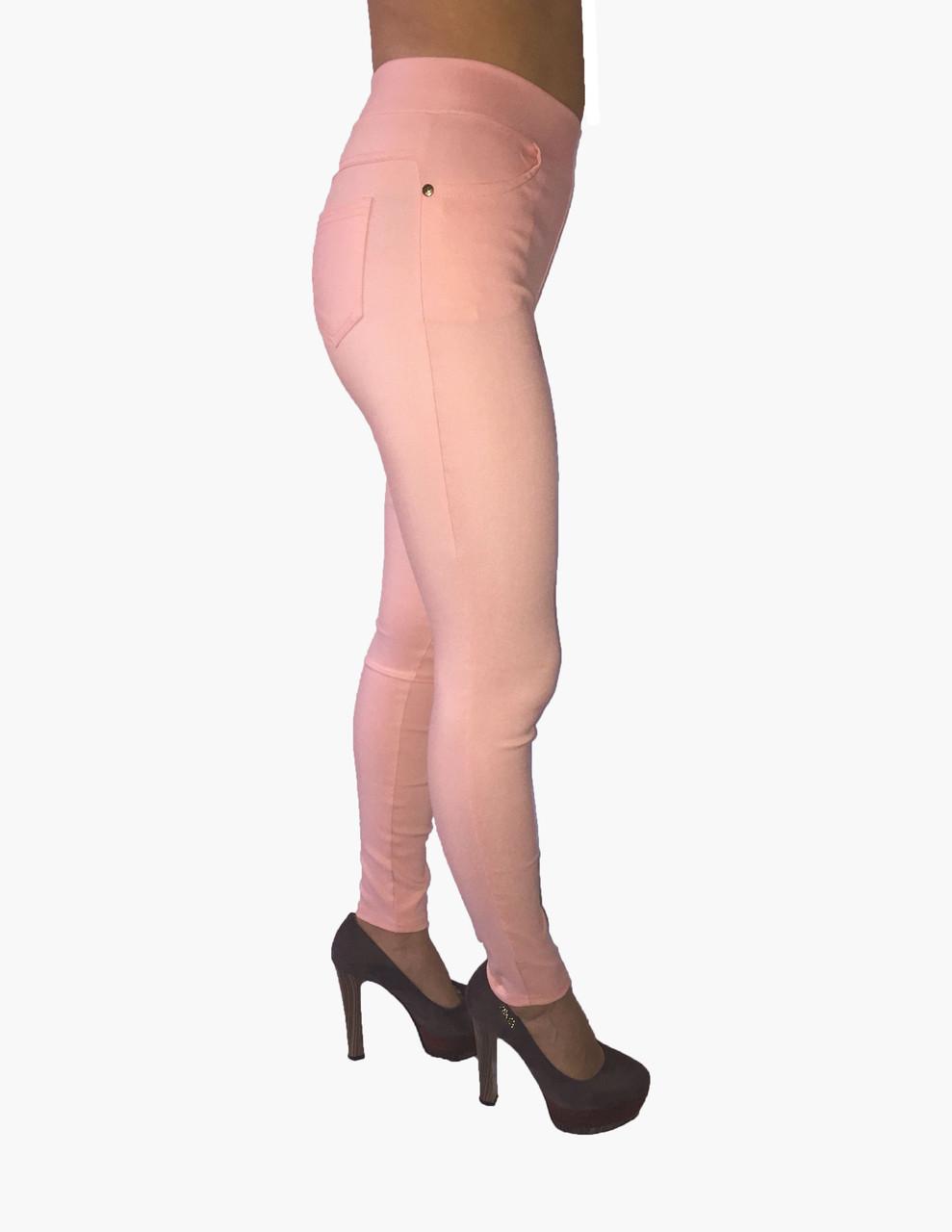Женские  брюки стрейч джинс розовые