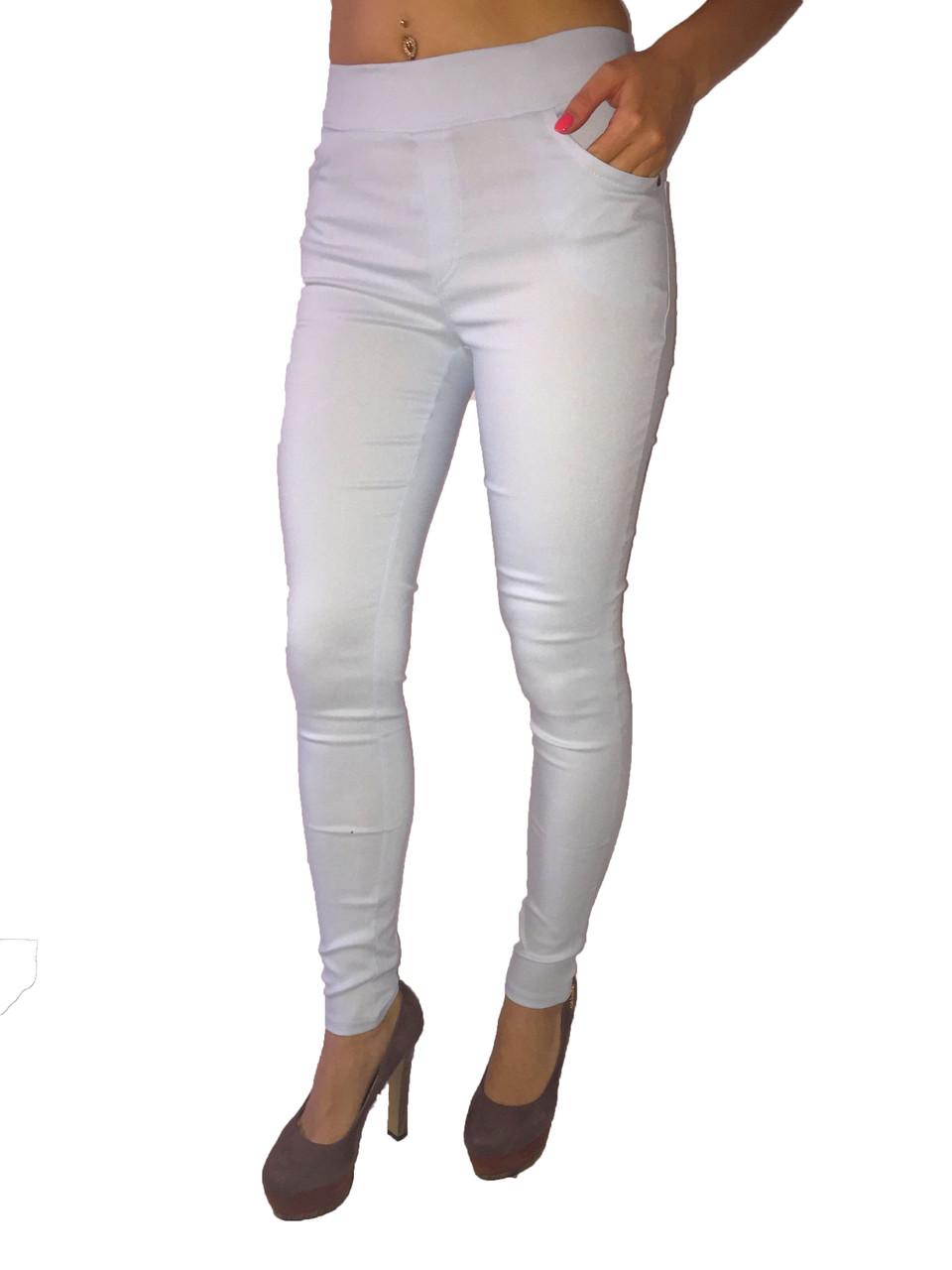 Женские  брюки стрейч джинс голубые