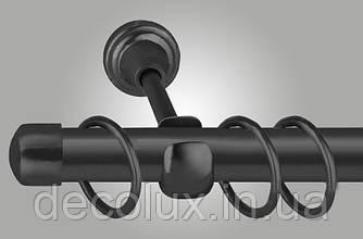 Чорний матовий Карниз для штор металевий, однорядний 25 мм