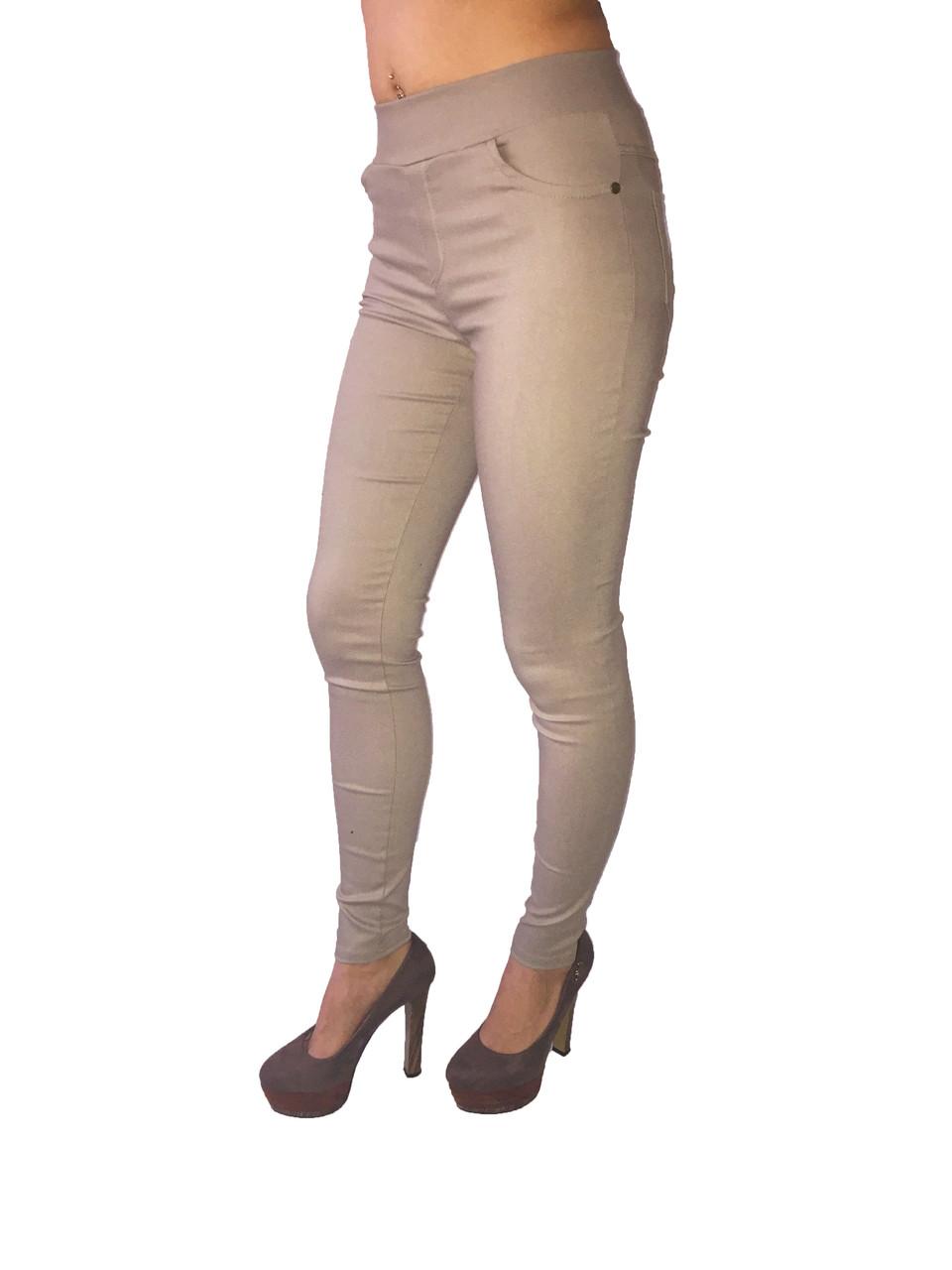 Женские  брюки стрейч джинс темно-бежевые