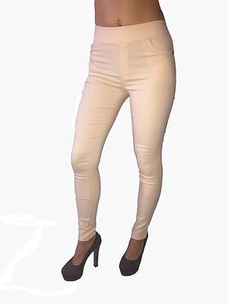 Женские брюки джинс стрейч бежевые, фото 2