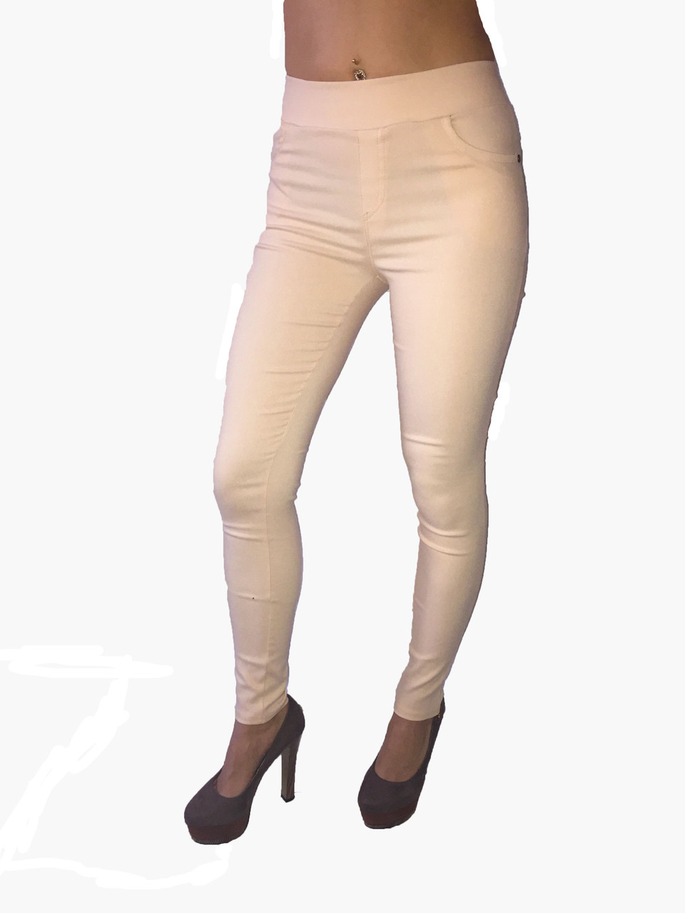 Женские брюки джинс стрейч бежевые