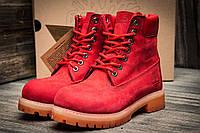 Ботинки женские Timberland 6 premium boot, красные (3195-4),  [   36  ]