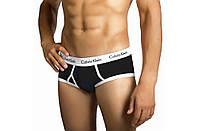 Мужские трусы Calvin Klein 365 Кельвин Кляйн брифы чёрные с белой резинкой (реплика)