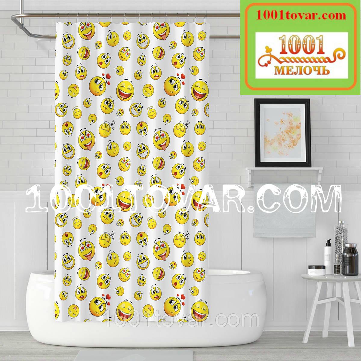 """Тканевая шторка для ванной комнаты из полиэстера """"Emoji"""" (Эмоции, смайл)  Jackline, размер 180х200 см., Турция"""
