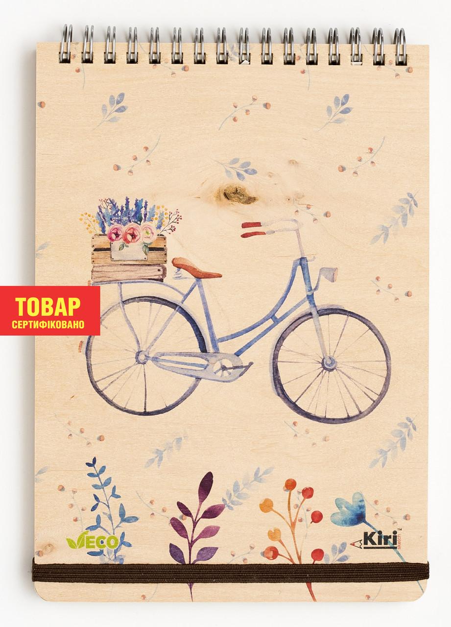 """Эко Блокнот в точку А5 """"Велосипед"""", деревянный на пружине"""