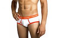 Мужские трусы Calvin Klein 365 Кельвин Кляйн брифы белые с оранжевой резинкой (реплика)