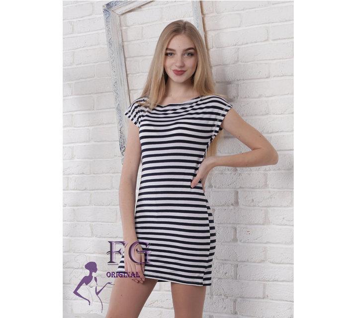 """Облегающее летнее женское мини платье в полоску """"L.V - Lпоite"""", черно-белое"""