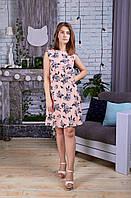 Модное летнее женское платье с поясом-обманкой в розах (НН-030)