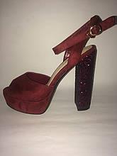 Бордовые босоножки каблук с эффектом битого стекла , копия