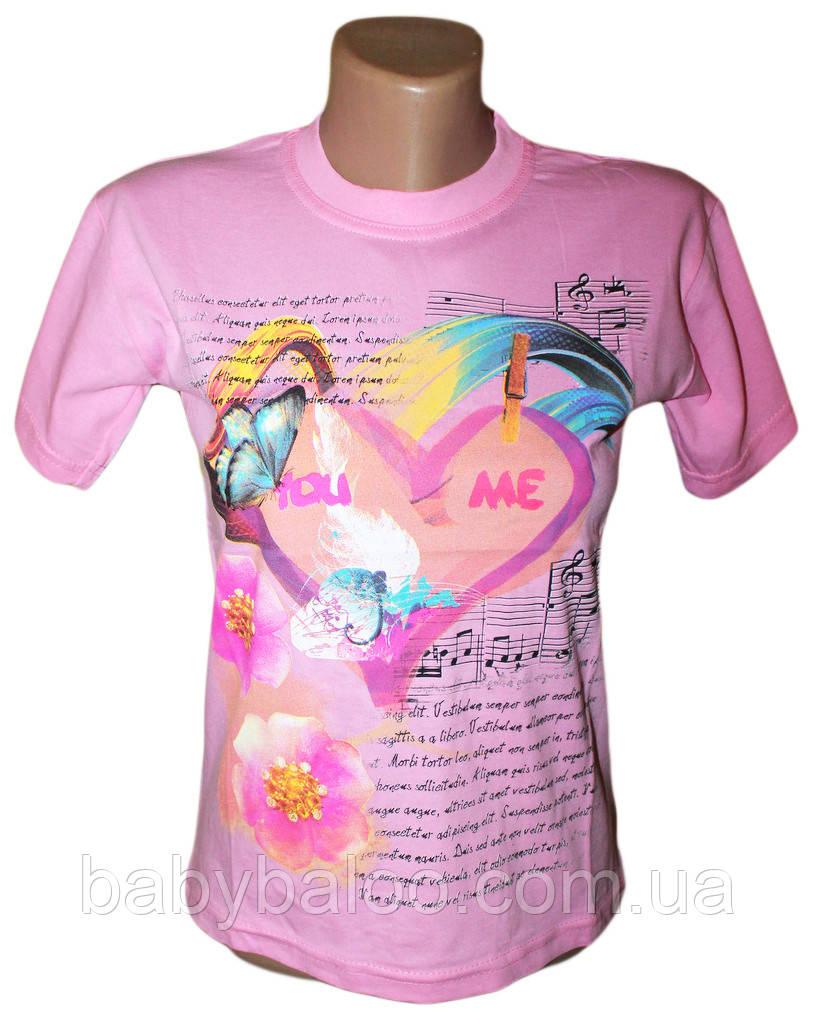 """Летняя футболка для девочки подростка """"Ноты""""(от 8 до 10 лет)"""