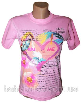 """Летняя футболка для девочки подростка """"Ноты""""(от 8 до 10 лет), фото 2"""