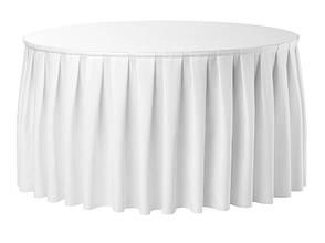 Фуршетная юбка с липучкой 5,80/0,72 Белая для стола диаметром 180см Стандартной высоты, фото 2