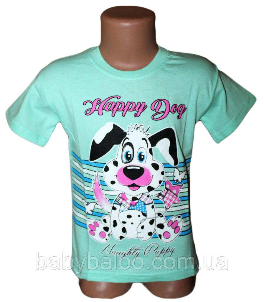 """Классная футболка для девочки """"Happy Dog""""(от 3 до 7 лет)"""