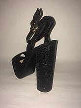 Черные босоножки каблук с эффектом битого стекла , копия