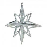 Украшение Звезда пластик 12х9см серебро