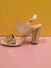 Босоножки бежевые с золотом на устойчивом каблуке , копия