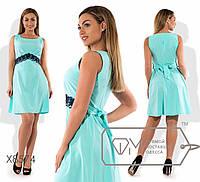 Нарядное летние платье 8574  ментол с кружевом  48-54