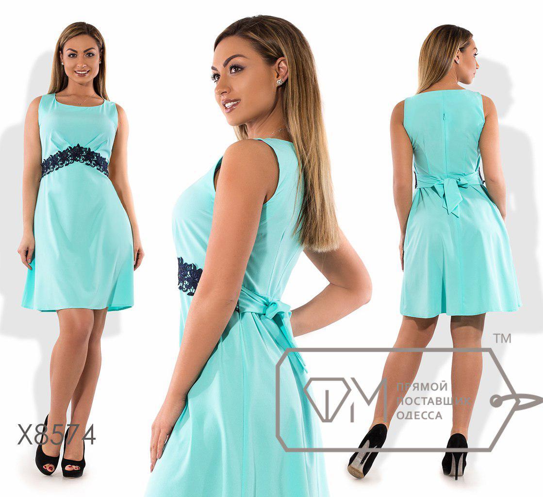 c5357cb664c Нарядное летние платье 8574 ментол с кружевом 48-54   продажа