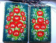 Подарки красивые для женщин, девушек Набор разделочных досок бук большие 41*26 + 39*24 ручной росписи, изумруд