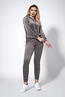 Женский велюровый костюм. Код модели КТ-16-68-18. Цвет серый.