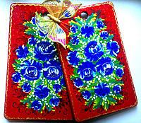 Подарки необычные для женщин, девушек Набор разделочных досок из бука большие 41*26 + 39*24 ручной росписи