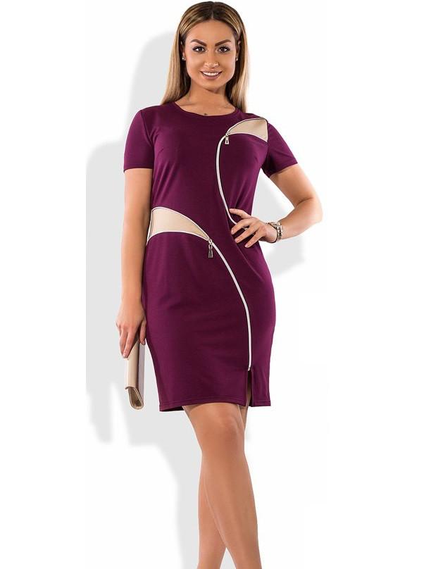 Бордовое платье женское летнее размеры от XL ПБ-357