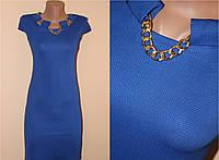 Мини платье електрик с украшением на груди