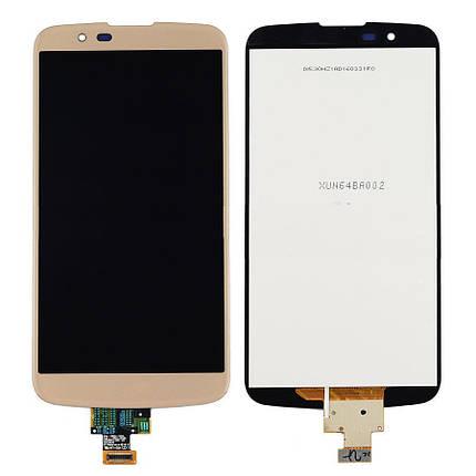 Дисплей (экран) для LG K410TV K10TV с сенсором (тачскрином) с микросхемой золотистый Оригинал, фото 2
