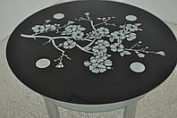 """Стол кухонный Maxi DT K 900 (2) """"сакура"""" черный стекло, хром, фото 1"""