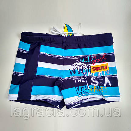 Детские плавки-шорты на мальчика Темно-синий + голубой, фото 2