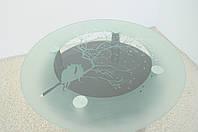 """Стол кухонный стеклянный на хромированных ножках Maxi DT K 900 (2) """"миндаль"""" черный стекло, хром, фото 1"""