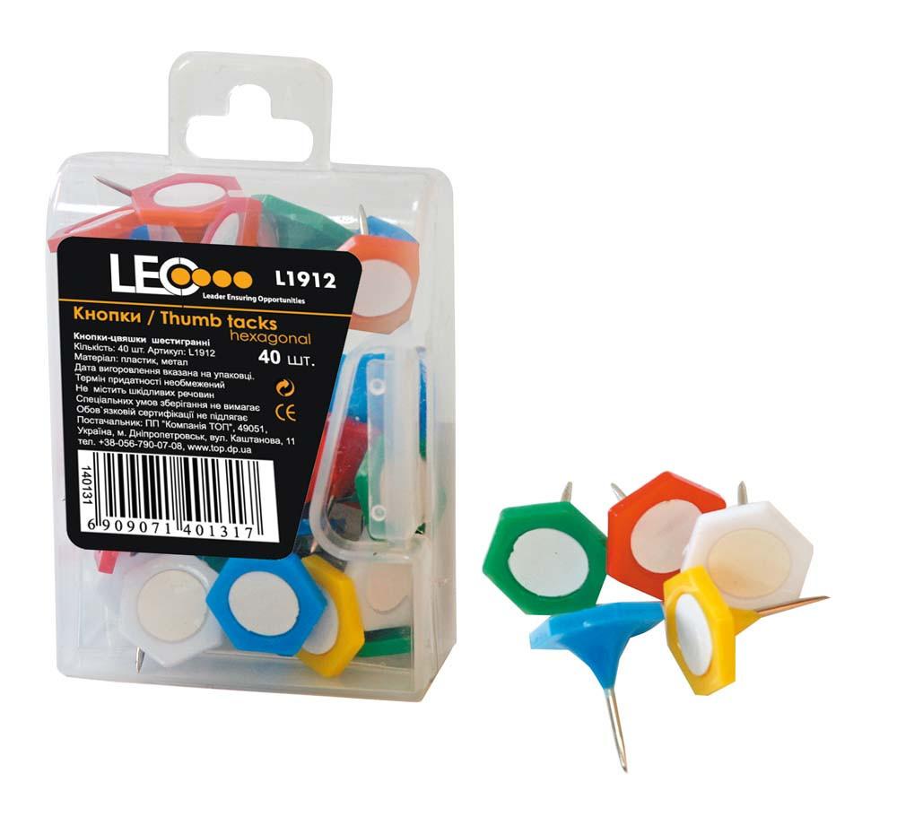 Кнопки для дошки шестигранні 40 шт. L1912 140131