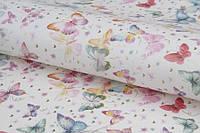 Бумага для упаковки подарков в листах, разноцветные бабочки