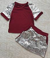 Летний костюм для девочки шорты-юбка и футболка 4-7 лет