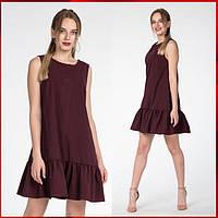 Женское платье с оборкой  Молли, бордовый, фото 1