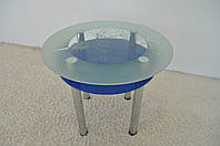"""Стол кухонный Maxi DT K 900 (2) """"миндаль"""" синий стекло, хром, фото 1"""