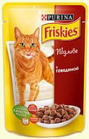 Friskies Консервы для кошек кусочки в подливе с говядиной 100 гр