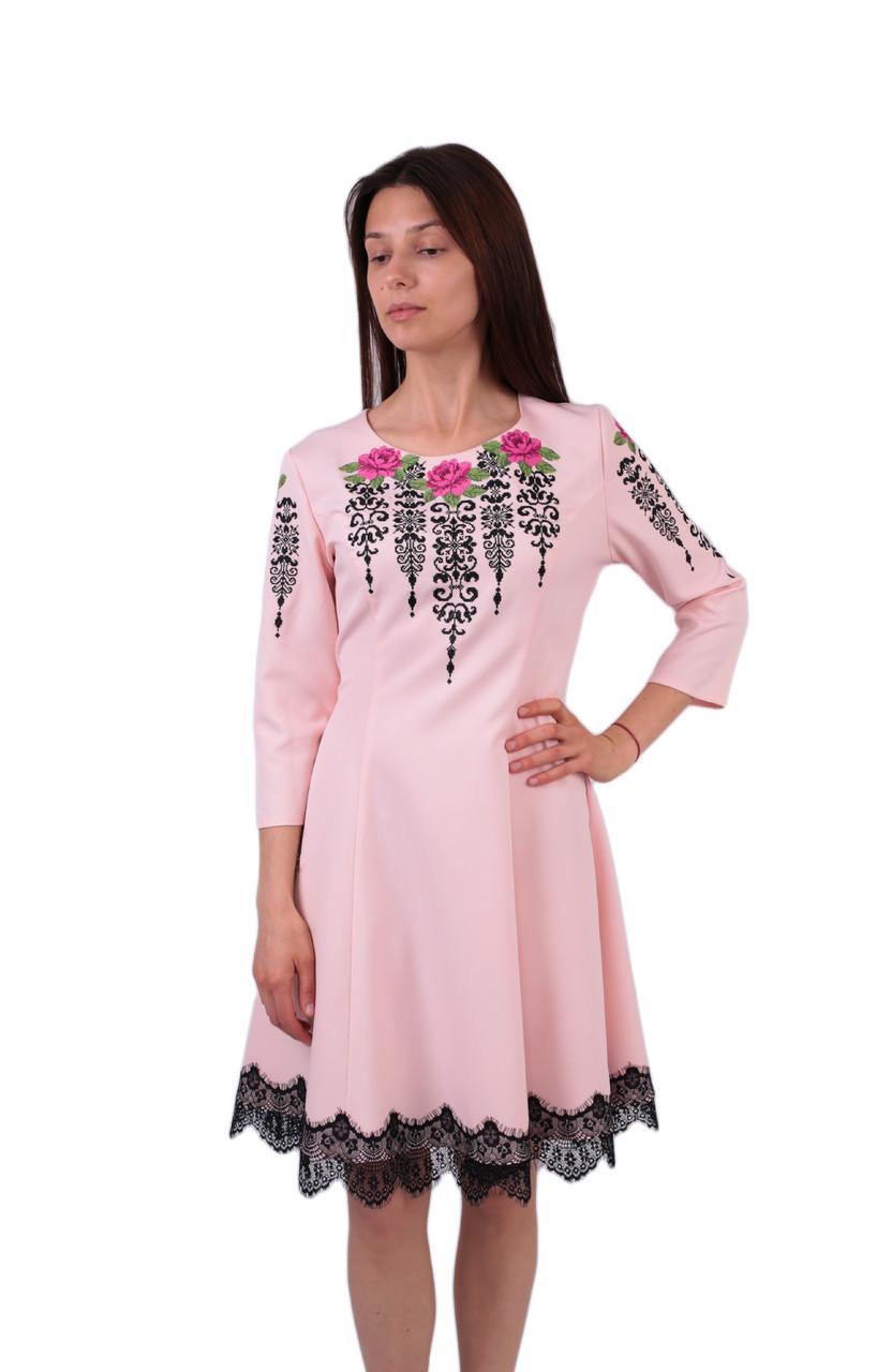 Вишите коротке плаття рожевого кольору з машинною вишивкою -  Інтернет-магазин вишиванок для всієї сім 2e43aeb079e63