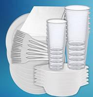 Набор одноразовой посуды Пикник ТМ 6 пер. (6тар.205 + 300 + 6стак.180мл. + 6стак, 80 мл + 6серв. + 6вид.) .