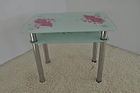 """Стол кухонный стеклянный на хромированных ножках Maxi DT R 900/650 (2) """"астра"""" стекло, хром"""