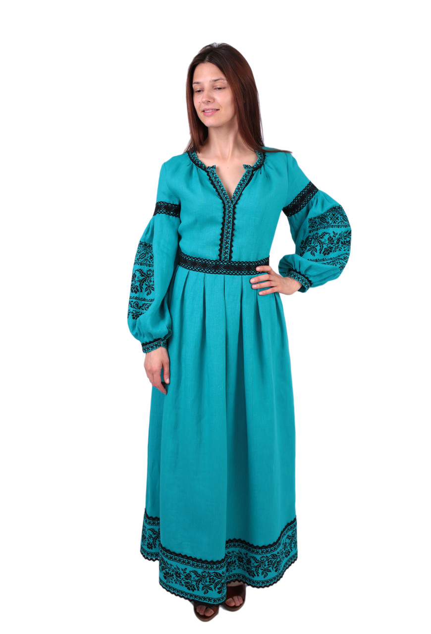 Вишите довге лляне плаття бірюзового кольору з машинною вишивкою ... 5593f526b0040