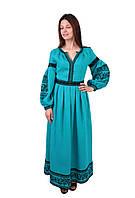 Вишите довге лляне плаття бірюзового кольору з машинною вишивкою