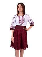 Вишите коротке плаття на габардині біло-бордового кольору з машинною вишивкою та бісером