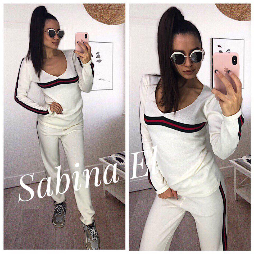 62906d8a8187 Вязаный спортивный костюм с лампасами, белый  продажа, цена в ...