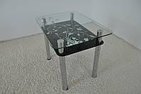 """Стол кухонный стеклянный на хромированных ножках Maxi DT R 900/650 (2) """"блюз"""" стекло, хром, фото 1"""