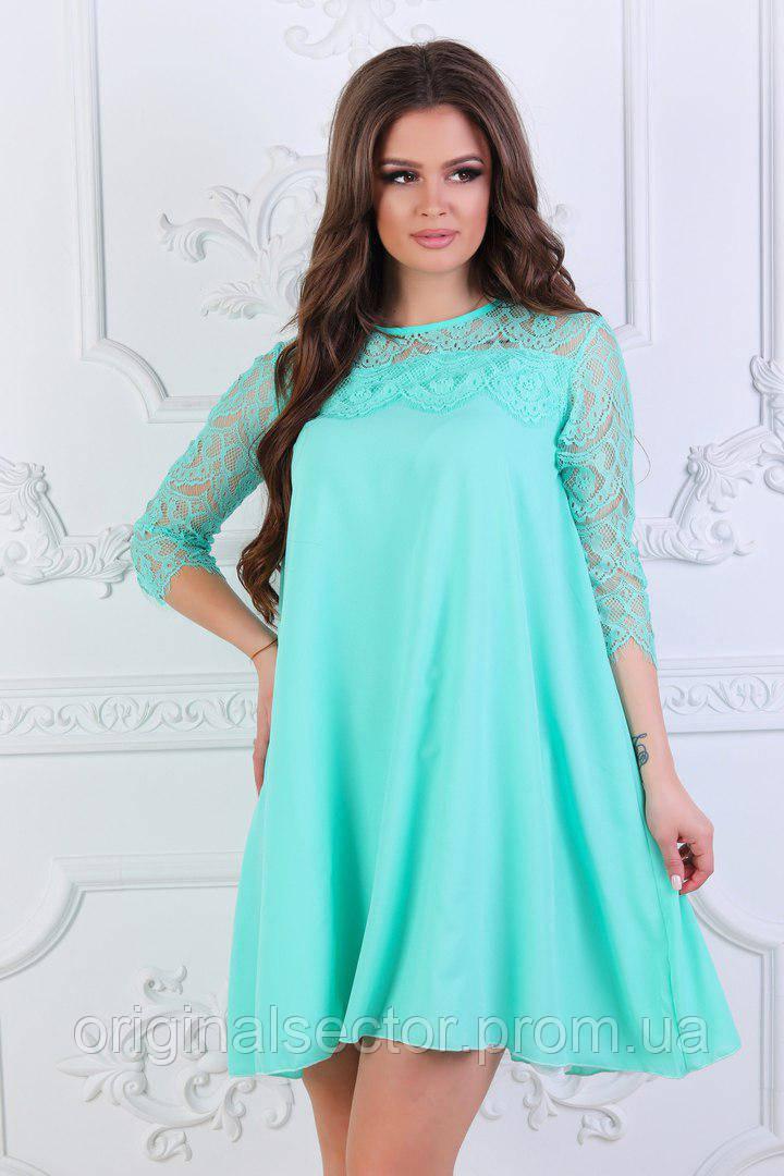 08eec29f463 Женское шифоновое платье с белым гипюром - интернет-магазин