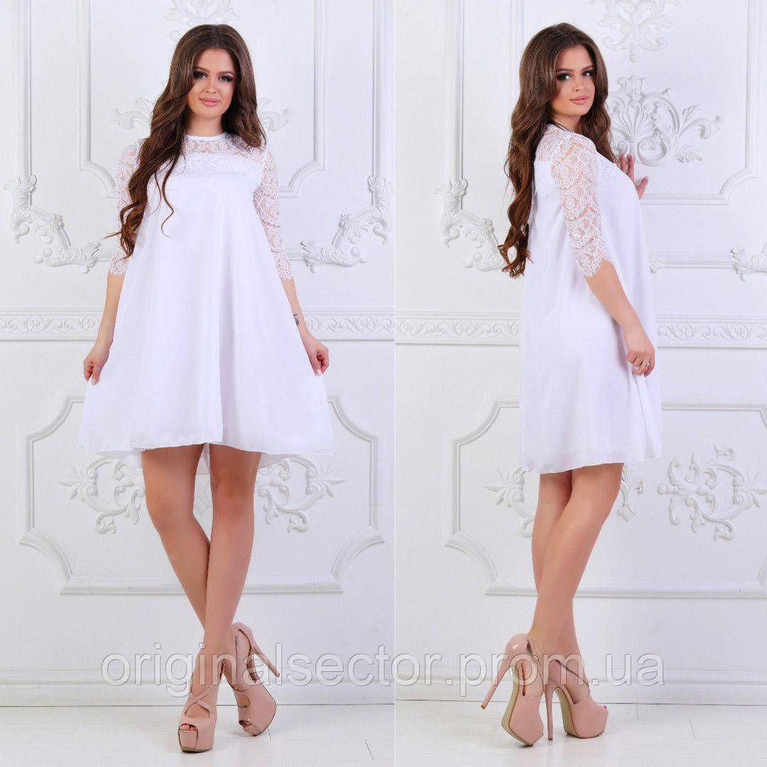 18013d53931 Женское шифоновое платье с белым гипюром  продажа по Украине. платья ...