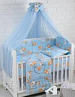 """Детский постельный комплект Asik 8 эл-в  """"Жирафы и бегемотики"""" № 144, голубой, фото 1"""