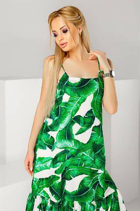 """Длинное летнее платье-сарафан на бретельках """"Karina Leaves"""" с оборками, фото 2"""